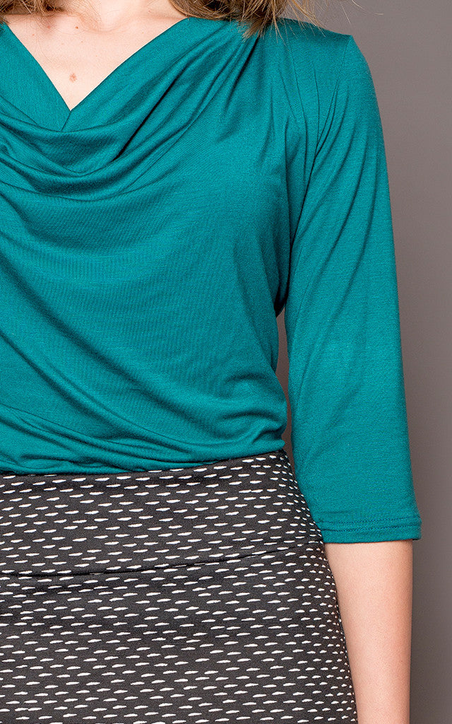 Emily 3/4 Sleeve Cowl-Neck Top