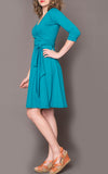 Ingrid Wrap Dress in Bright Turquoise