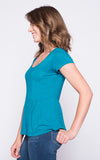 Kristy Peplum Tee in Bright Turquoise