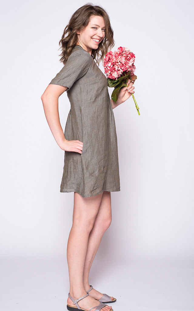 Mary Dress in Fatigue Linen