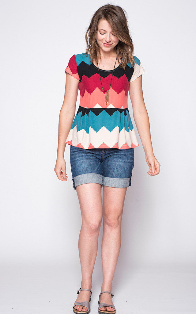 Kristy Peplum in Colorful Chevron