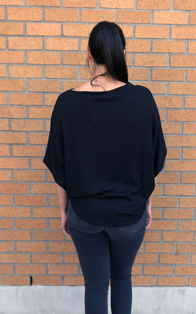 Divine Hammer Top in Black Rib