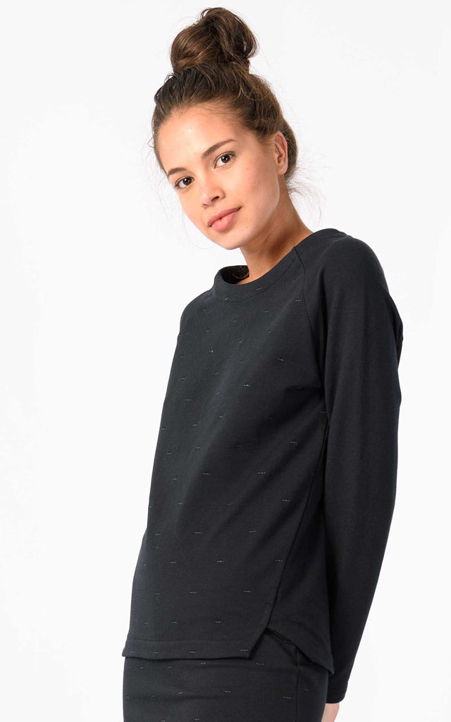 French Terry Sweater with Tonal Embroidery