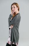 Jillian Cardigan in Green and Black Stripe