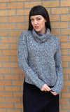 Karen Cowl Sweater in Black and White