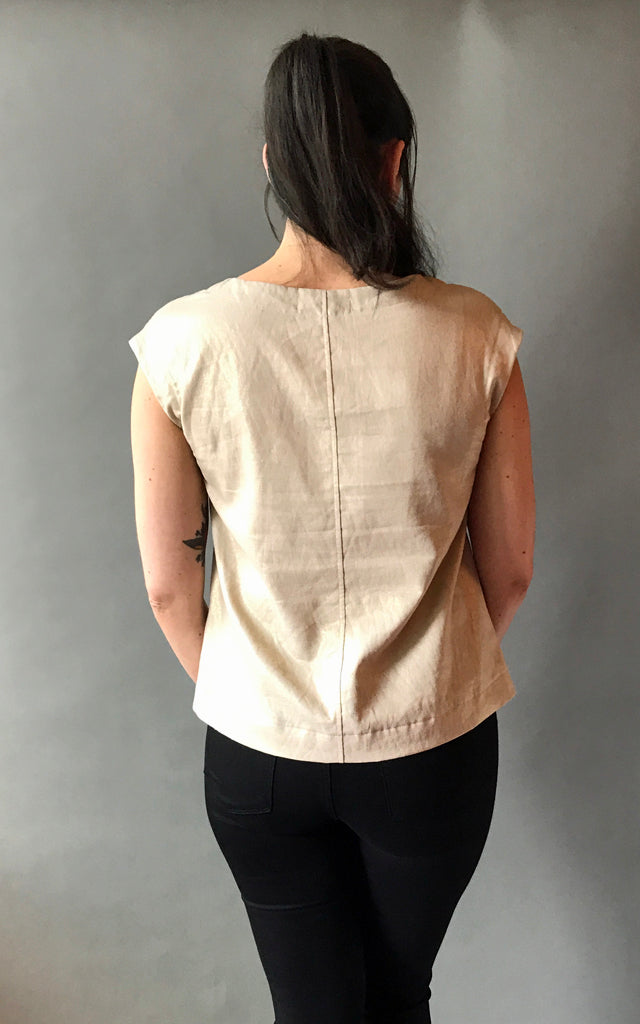 Motorway to Roswell Top in Gold Linen