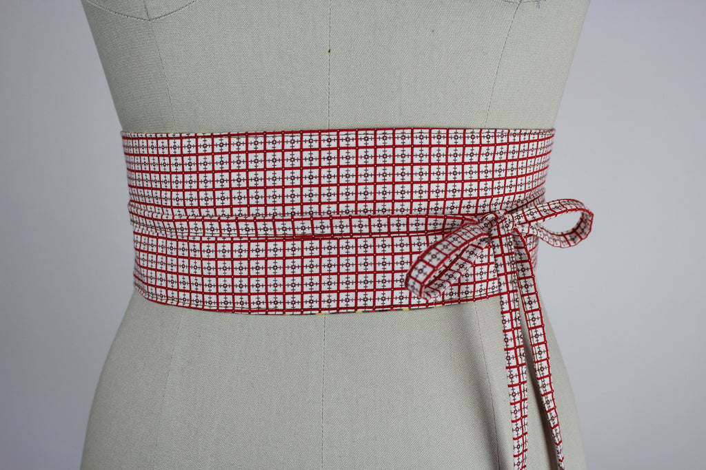Obi Belt in Red Plaid