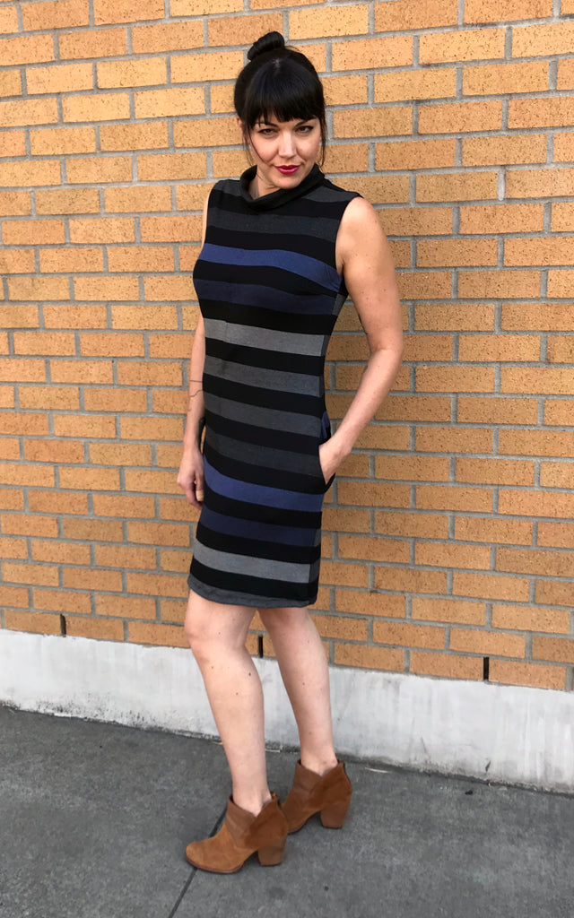 Billy Funnel Neck Dress in Stripe