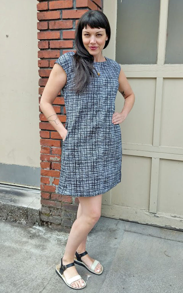 Distance and Time Dress in Black and White Crosshatch