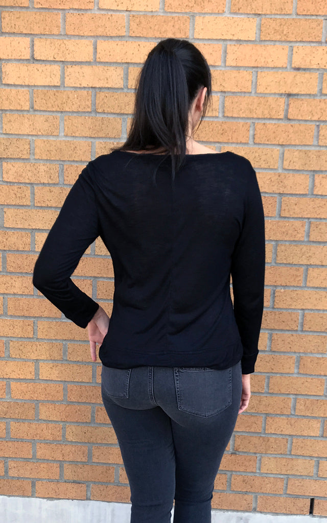 Long Sleeve Head On Top in Black Slub