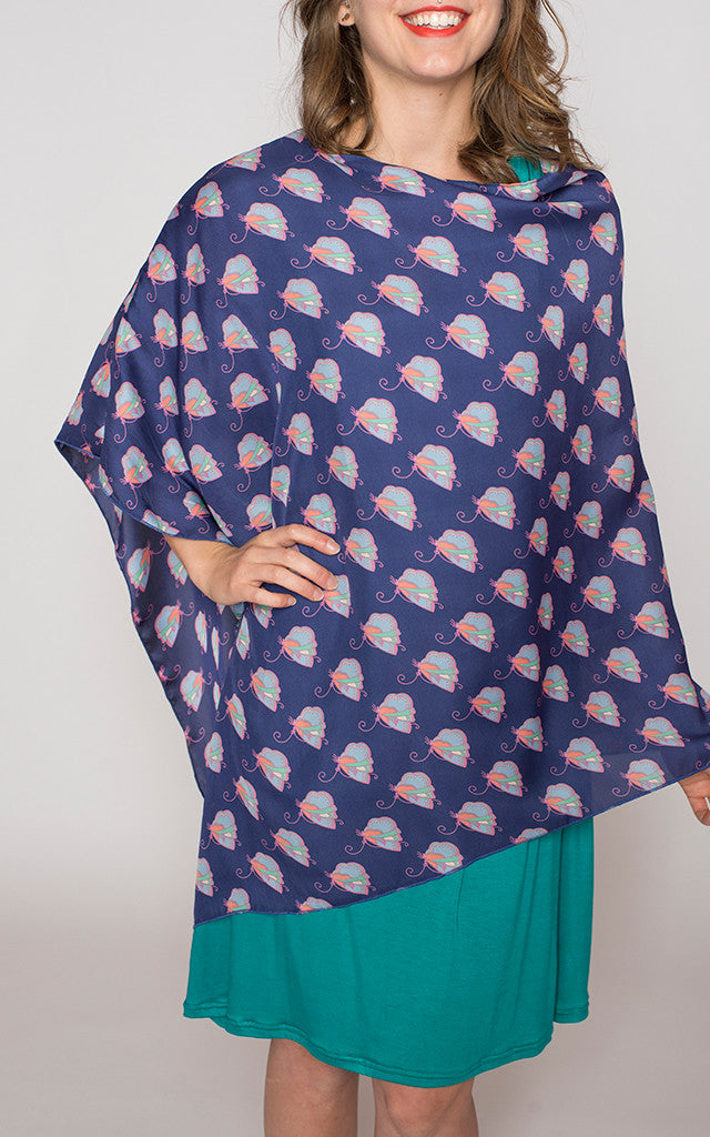 Silk Aliza Convertible Poncho in Butterflies