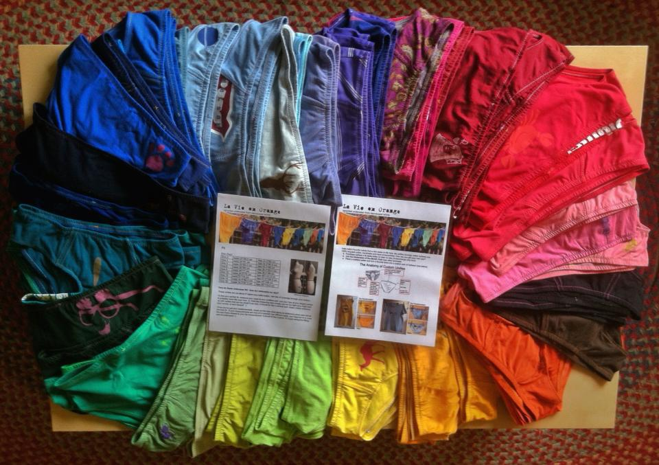 A rainbow of undies awaited panty party guests