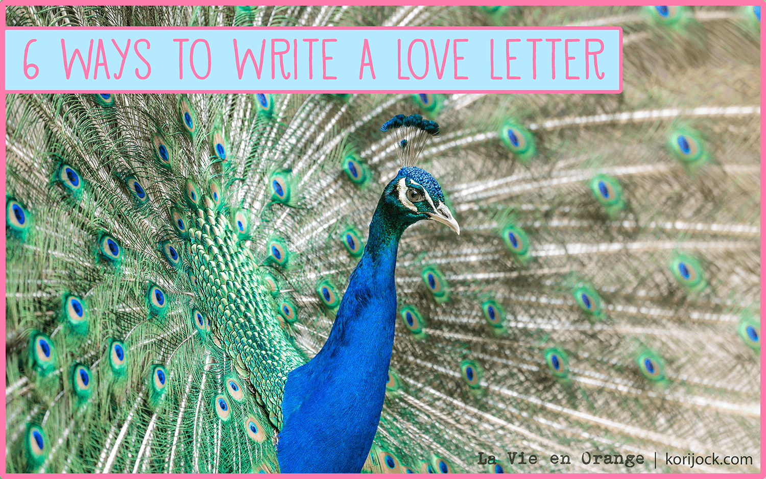 6 ways to write a love letter | La Vie en Orange [a male peacock spreads its green and blue feathers]