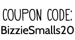 Use the coupon code BizzieSmalls20 for 20% off your order on Small Business Saturday, 11/26