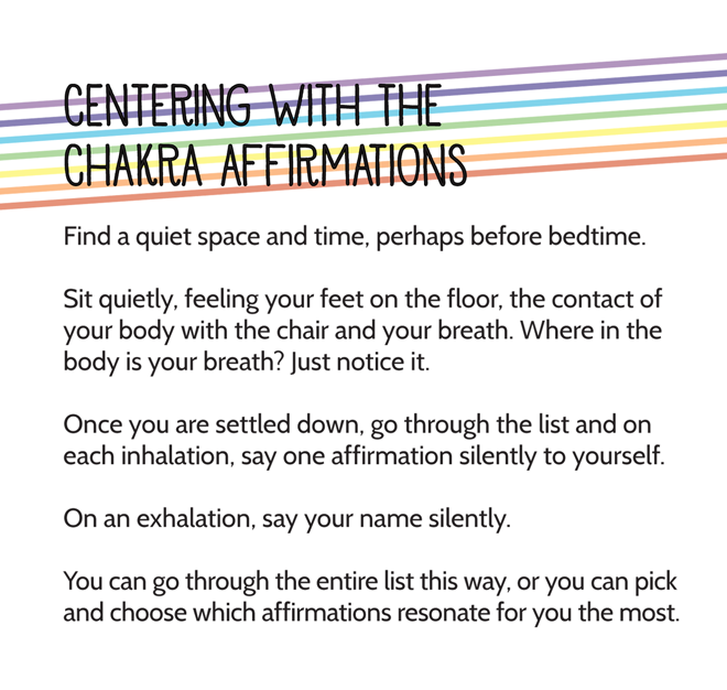 Centering with chakra affirmations
