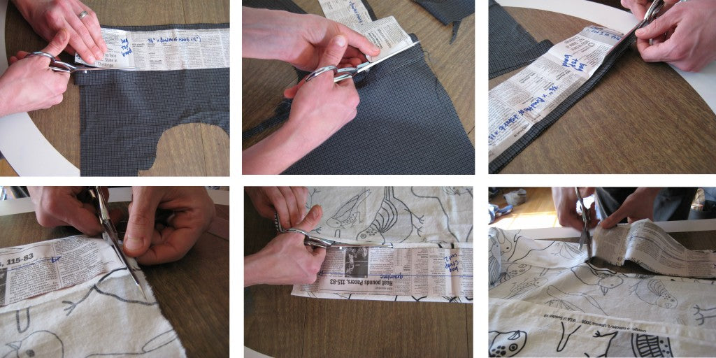 Cutting double layers out- bag top band on fold and bag straps