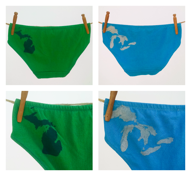 Initial Attraction is carrying its own special Great Lakes and Michigan undies in colors picked just for their store!