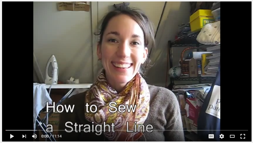 YouTube video tutorial:  how to sew a straight line