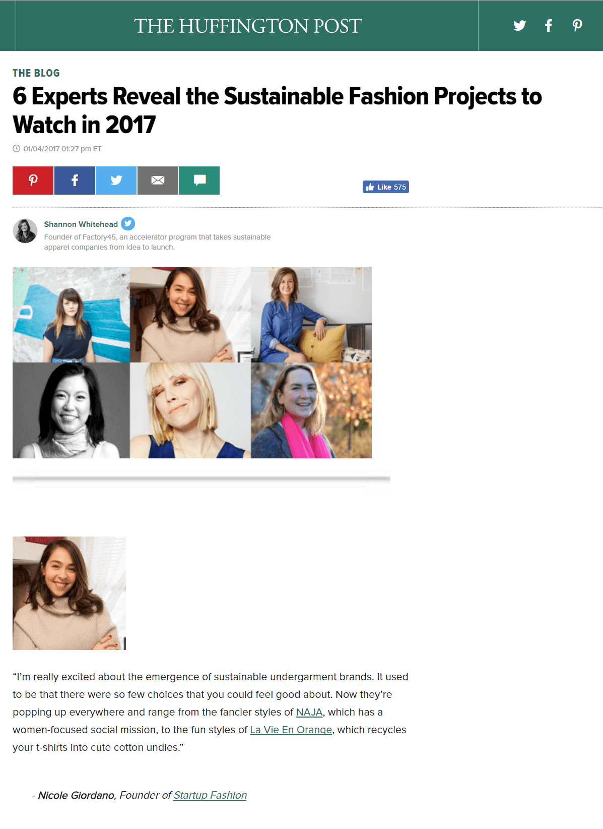 Huffington Post | 6 Experts Reveal the Sustainable Fashion Projects to Watch in 2017 [La Vie en Orange screenshot of Huffington Post banner and article excerpts taken on January 10, 2017]