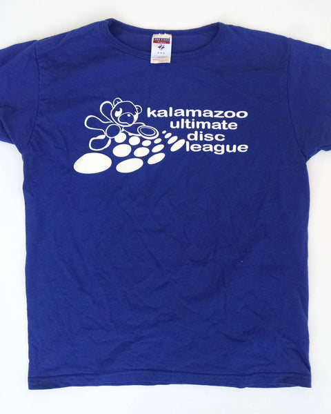 Royal blue KUDL tee with white bear and dots | Kalamazoo Ultimate Disc League