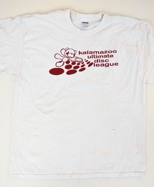 White KUDL tee with red bear and dots | Kalamazoo Ultimate Disc League