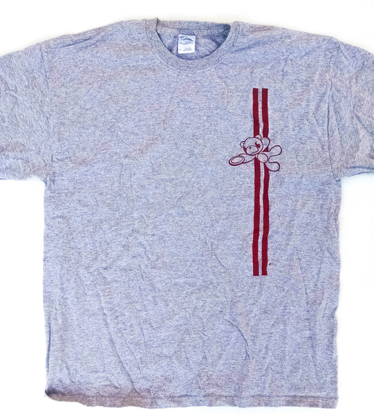 Heather gray KUDL tee with red bear and stripes | Kalamazoo Ultimate Disc League