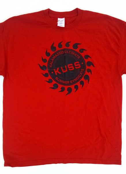 Red KUDL tee with black circle | Kalamazoo Ultimate Disc League