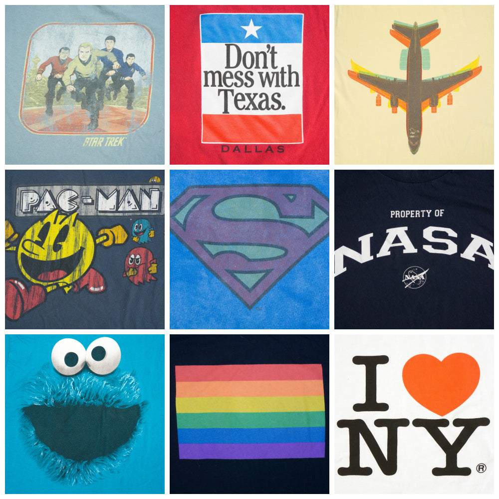 One of a kind undies collage - Star Trek, Don't mess with Texas, airplane, Pac-Man, Superman, NASA, Cookie Monster, Pride Flag, and I heart NY | La Vie en Orange