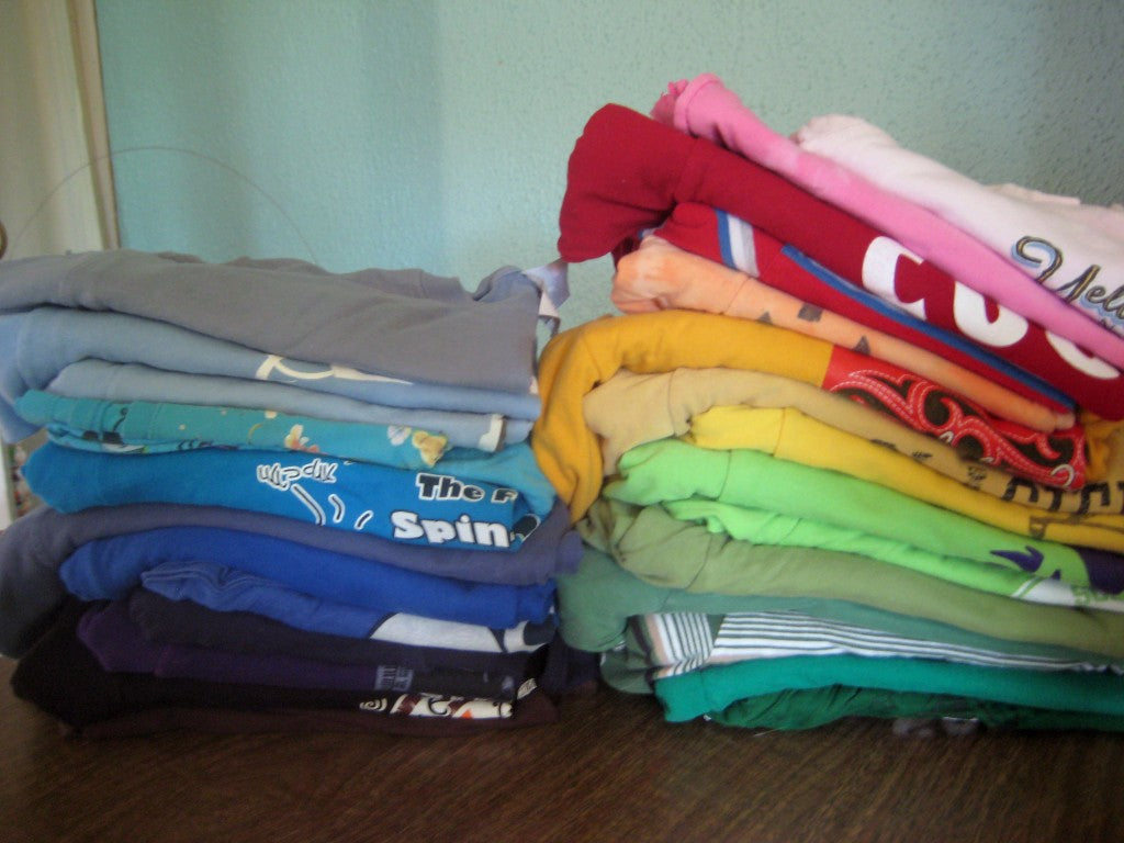 20 pounds of tshirts looks like this!