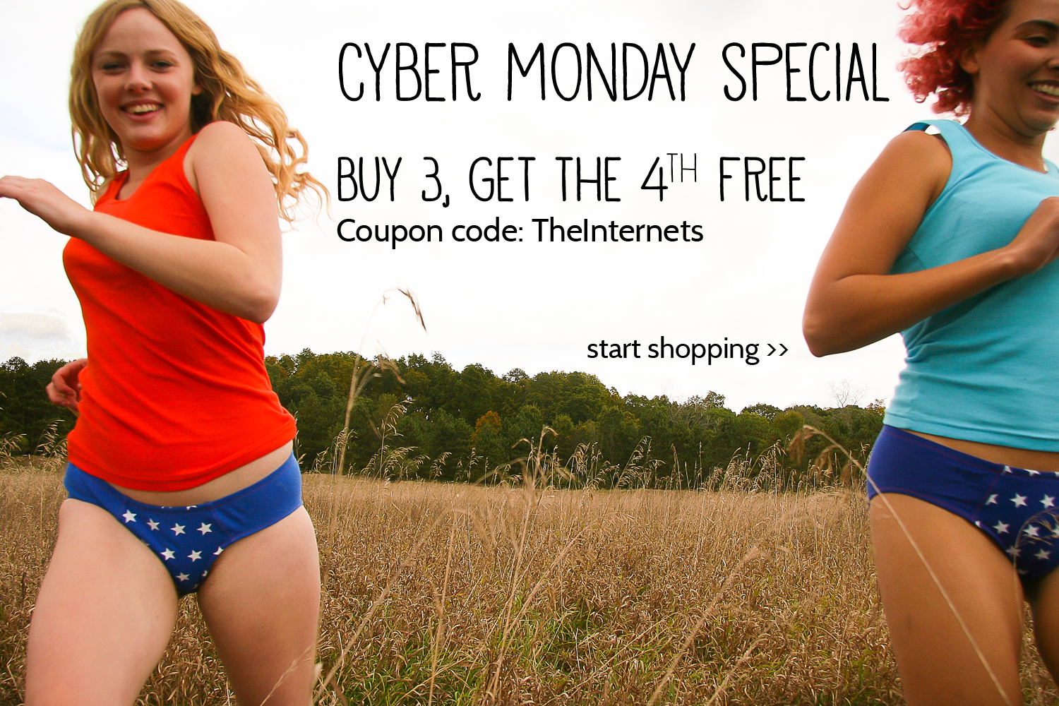 On Cyber Monday, buy 3, get the 4th free with the coupon code
