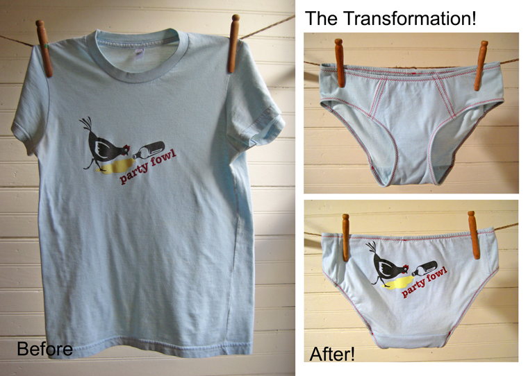 "Side by side before and after of ""Party Fowl"" custom tshirt undies by La Vie en Orange"