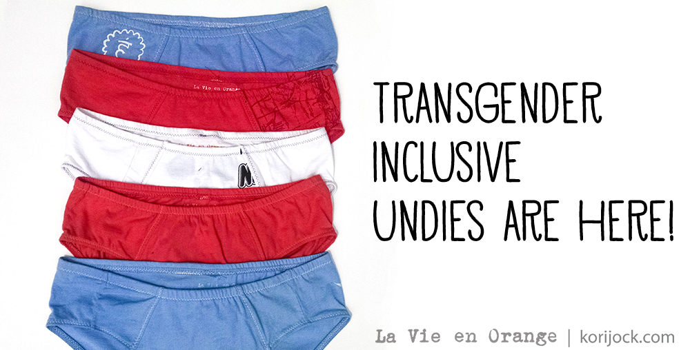 Transgender inclusive undies are here! [Trans flag made out of undies] | La Vie en Orange