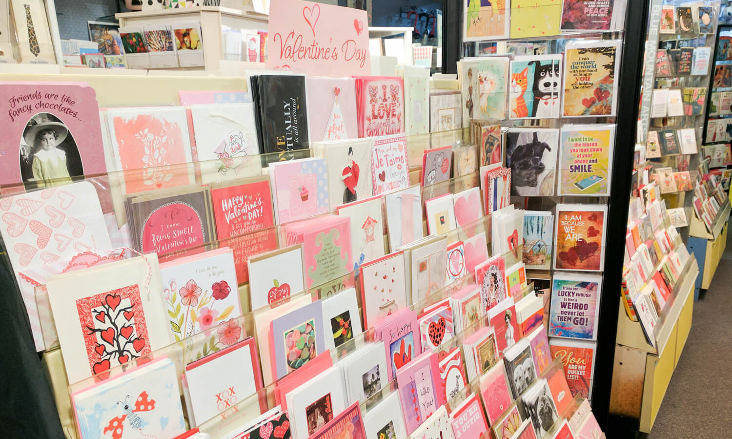 Petals and Postings in Kalamazoo, Michigan has the best selection of greeting cards and happy stationery!