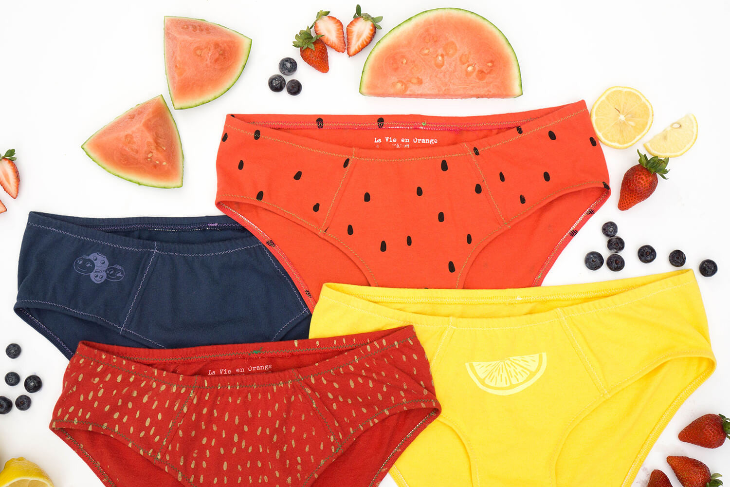 Fruit and veggie underwear! New for fall from La Vie en Orange