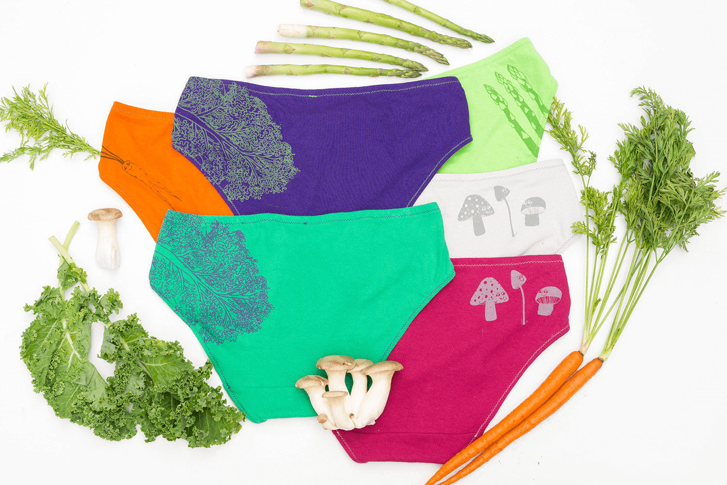 Kale, carrot, mushroom and asparagus underwear! New for fall from La Vie en Orange