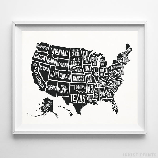 Typography USA Map White Background Print