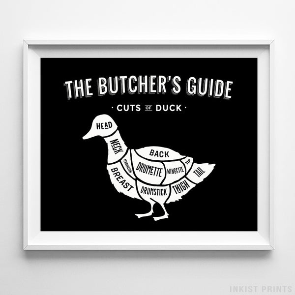Duck Butcher Guide Black Background Print