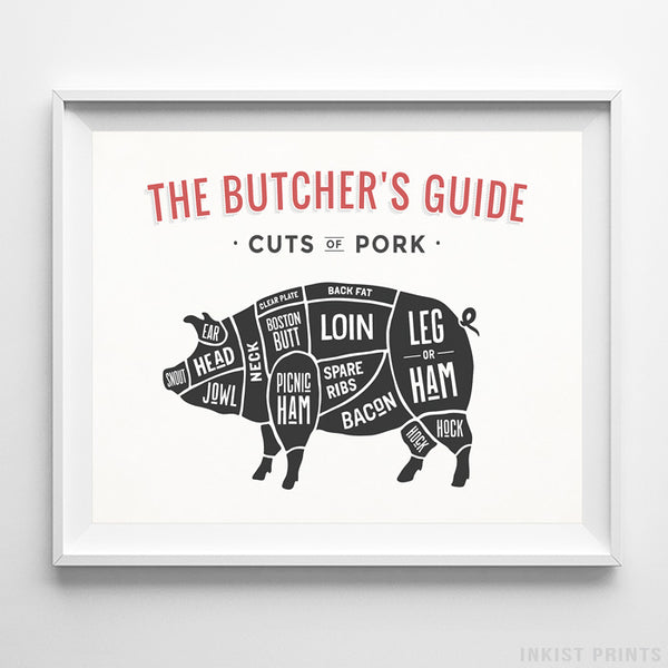 Pork Butcher Guide White Background Print-Poster-Wall_Art-Home_Decor-Inkist_Prints