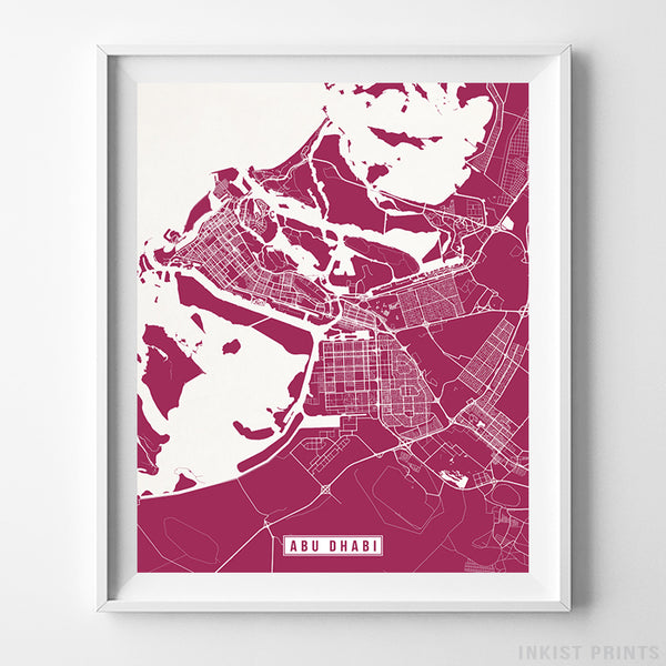 Abu Dhabi, United Arab Emirates Street Map Vertical Print