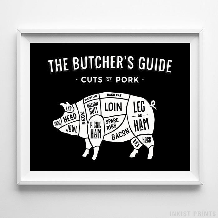 Pork Butcher Guide Black Background Print-Poster-Wall_Art-Home_Decor-Inkist_Prints