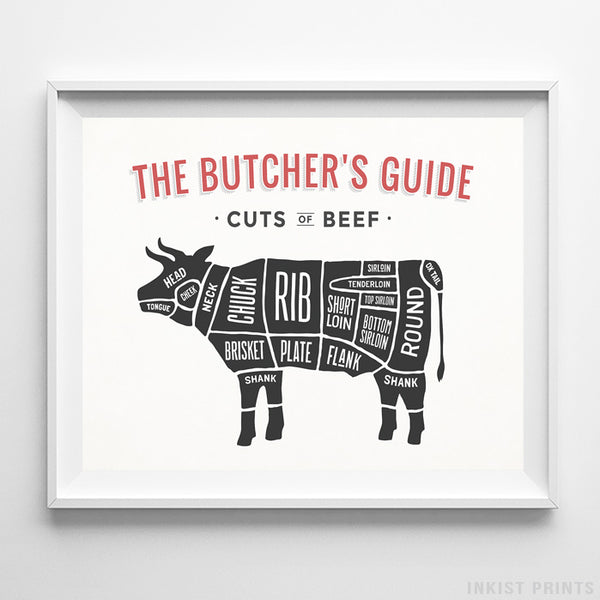 Beef Butcher Guide White Background Print