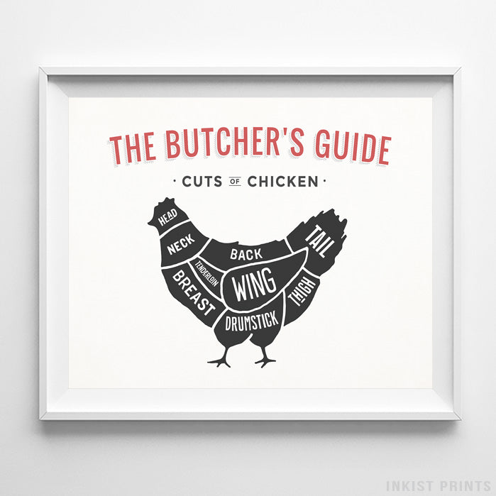 Chicken Butcher Guide White Background Print-Poster-Wall_Art-Home_Decor-Inkist_Prints