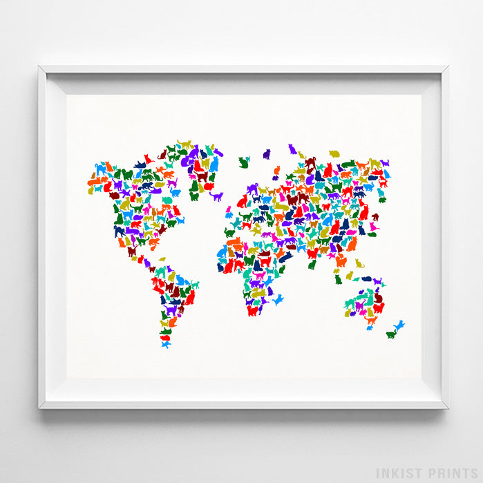 Cat World Map Type 2 Print-Poster-Wall_Art-Home_Decor-Inkist_Prints
