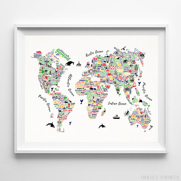 Typography World Map Color Print