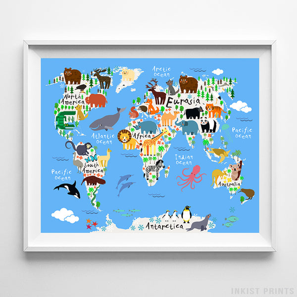 Animal World Map Blue Background Print-Poster-Wall_Art-Home_Decor-Inkist_Prints