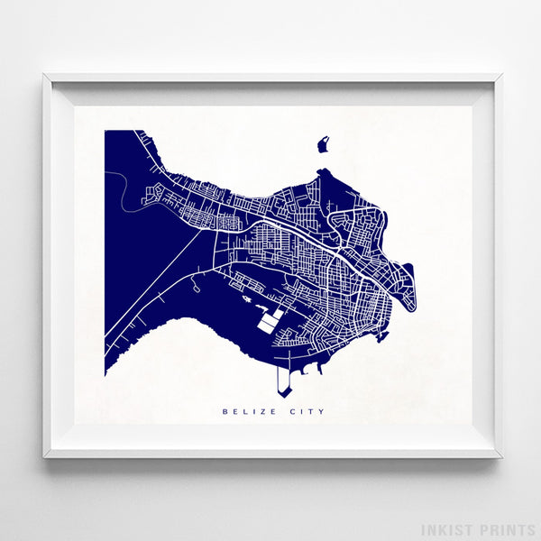 Belize City, Belize Street Map Horizontal Print-Poster-Wall_Art-Home_Decor-Inkist_Prints