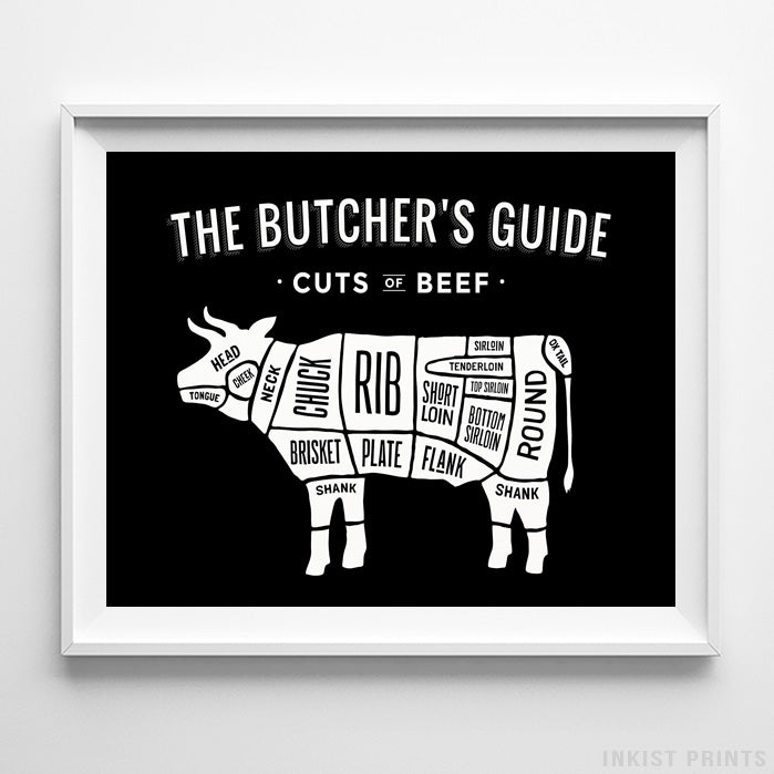 Beef Butcher Guide Black Background Print-Poster-Wall_Art-Home_Decor-Inkist_Prints