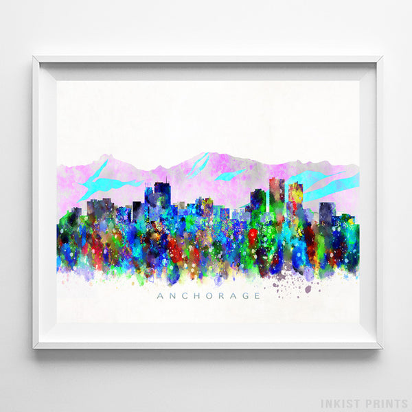 Anchorage, Alaska Skyline Watercolor Print-Poster-Wall_Art-Home_Decor-Inkist_Prints