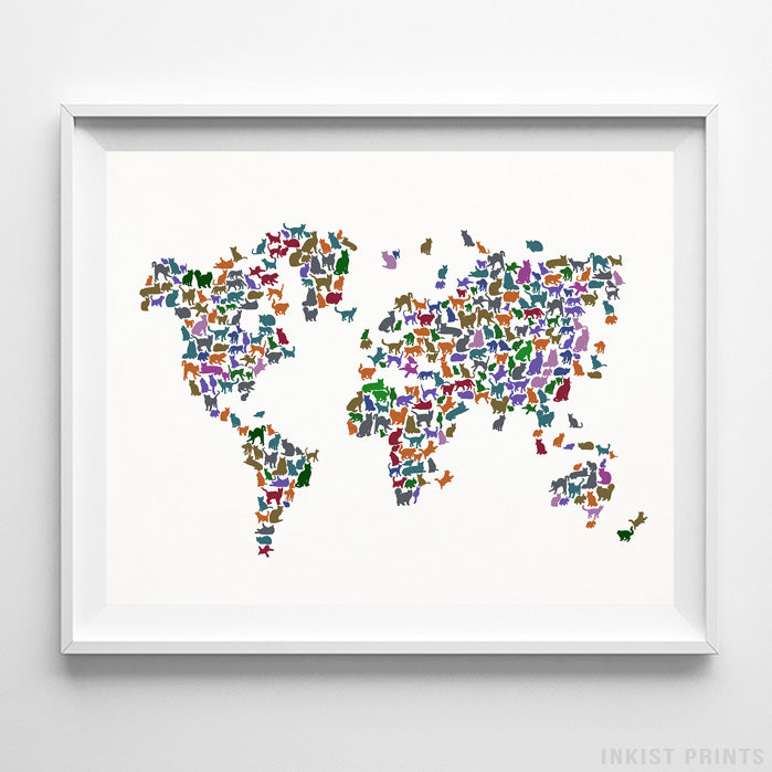 Cat World Map Type 6 Print-Poster-Wall_Art-Home_Decor-Inkist_Prints