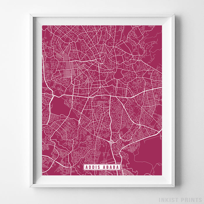 Addis Ababa, Ethiopia Street Map Vertical Print